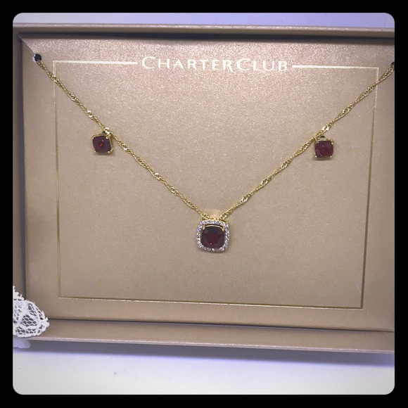 Charter Club Jewelry - Ruby Red Crystal  Necklace & Earring set [JW-59]